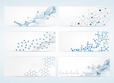 geometrics: Set of digital backgrounds for dna molecule structure vector illustration.