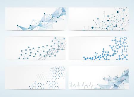 communicatie: Set van digitale achtergronden voor DNA-molecuul structuur vector illustratie.