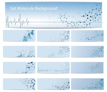 분자 구조 및 DNA 벡터 배너입니다. 카드 및 브로슈어 화학 과학 일러스트 레이션