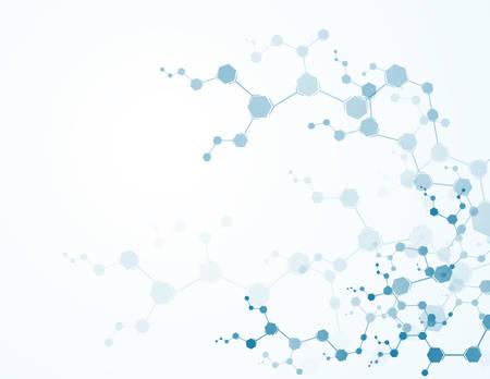 분자 구조 입자와 추상 가상 배경입니다. 과학 개념 및 벡터 연결 일러스트