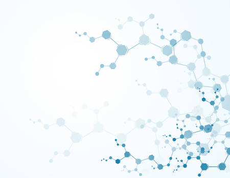 Abstract virtual background with molecular structure particles. Scientific Concepts and Vector Connections Çizim