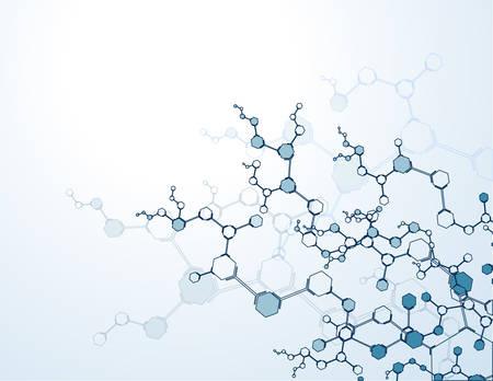 분자 구조 입자와 배경입니다. 과학 개념 및 벡터 연결