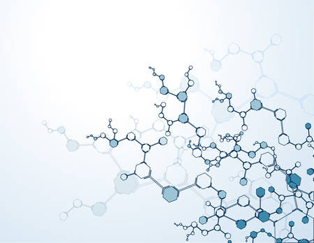 background with molecular structure particles. Scientific Concepts and Vector Connections