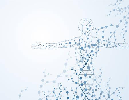 Concepto de cuerpo de la molécula del ADN humano Eps10
