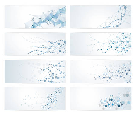 Set of dna molecule structure Science digital backgrounds vector illustration eps10