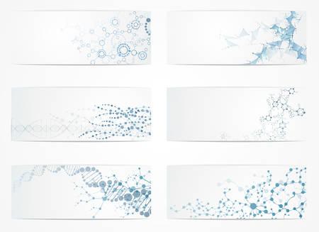 dna 분자 구조 세트 과학 디지털 배경 벡터 일러스트 레이 션 eps10