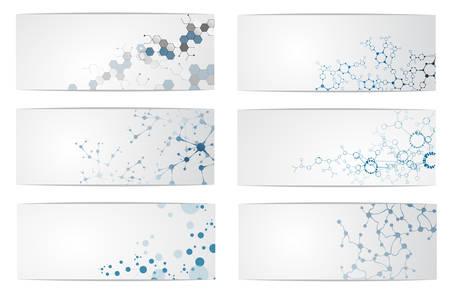 DNA 분자 구조, 과학 디지털 배경 그림의 집합입니다.