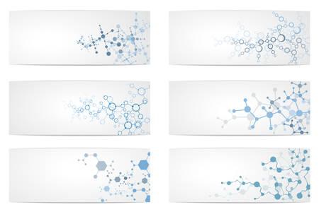 Set of DNA molecule structure, Science digital background illustration.