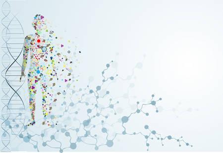 Koncepcja ciała cząsteczki ludzkiego DNA Ilustracje wektorowe