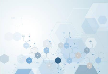 분자 구조 입자 의료 및 벡터 연결 일러스트
