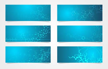 Set of DNA structure molecular fluorescent digital vector science background 스톡 콘텐츠 - 131637535