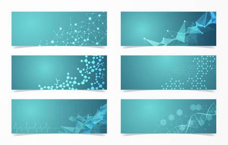 Set of DNA structure molecular fluorescent digital vector science background