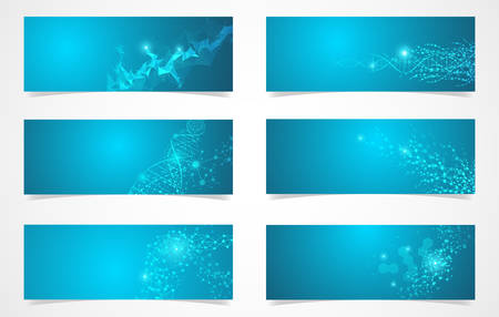 Set of DNA structure molecular fluorescent digital vector science background 스톡 콘텐츠 - 132744172