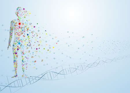 molecule abstract body concept of the human DNA chemistry science illustration  矢量图像