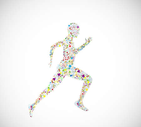 body fitness concept Jumping molecules of scientific illustrations of human DNA chemistry
