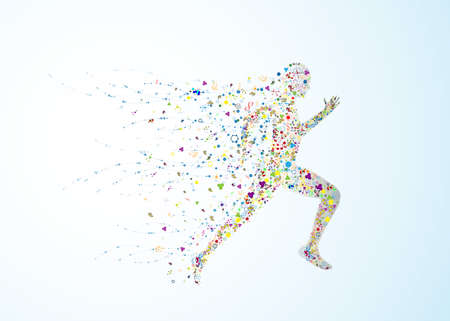 human body running at the speed of scientific illustrations, vector human DNA