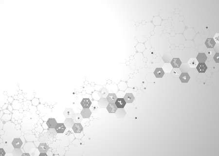 Dna molecule connection concept vector nervous system of cells black and white polygon