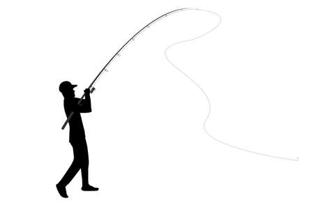 Fisherman holding a fishing rod Illustration
