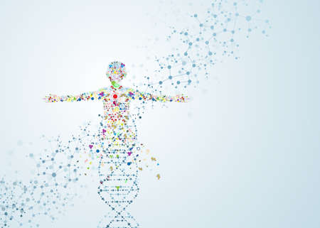 People conceptual connection of the body female molecules of vector illustration dna chemistry human science
