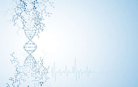 Medical abstract heart beat background and technology. Health care and scientific dna and research vector illustration