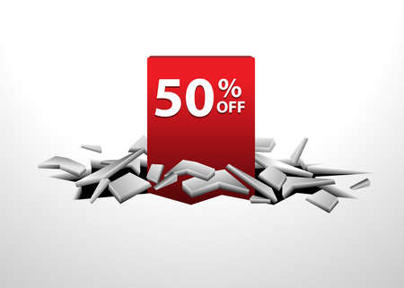 cracks 3D of 50 discount tags plunging from cracks Vector illustrations. used for commercial background Illusztráció