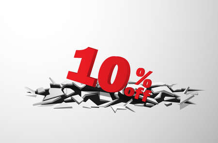 cracks 3D of 10 discount tags plunging from cracks Vector illustrations. used for commercial background