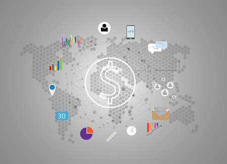 Vector concept design Global connection with digital network icon technology background