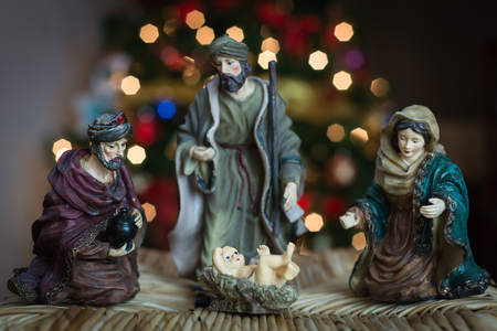st  joseph: This is a Christmas nativity scene. This includes Jesus, Mary, St. Joseph, and a Magi.