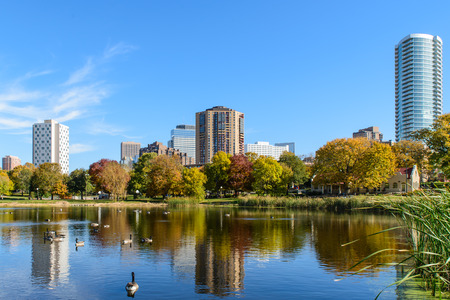 city park skyline: This is a view of part of the Minneapolis skyline as seen from Loring Park.