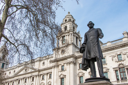 john henry: Statue of Henry John Temple 3rd Viscount Palmerston at Parliament Square in London United Kingdom