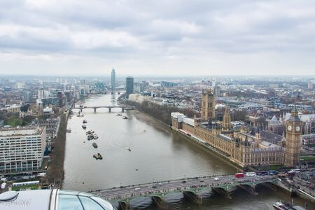 westminster bridge: This is a skyline photo of London featuring the Houses of Parliament and Westminster Bridge. This is a view from the London Eye. Stock Photo