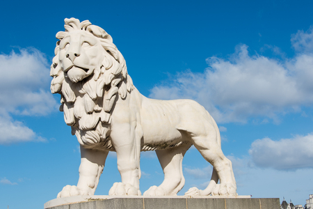 east end: This is the South Bank Lion at the east end of the Westminster Bridge in London. This is made of Coade stone.