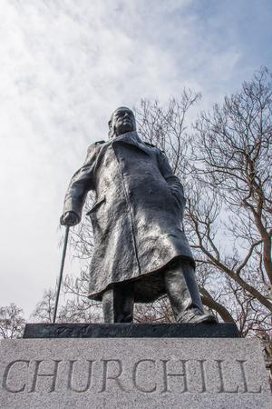 churchill: Statue of Winston Churchill at Parliament Square in London England