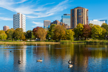 lake: Loring Park in Minneapolis Minnesota During Autumn