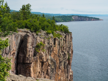 palisade: This is the cliff of Palisade Head in the Lake Superior North Shore area of Minnesota. Stock Photo