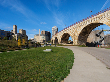 flour mill: This is the Mill Ruins Park in Minneapolis, Minnesota. It features the Stone Arch Bridge and the ruins of flour mills.