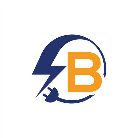 Electrical sign with the letter B,  Electricity Logo, electric logo and icon Vector design Template.Lightning Icon in Vector. Lightning Logo, Power Energy Logo Design Element,