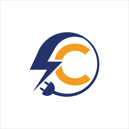 Electrical sign with the letter C,  Electricity Logo, electric logo and icon Vector design Template.Lightning Icon in Vector. Lightning Logo, Power Energy Logo Design Element, Ilustracja
