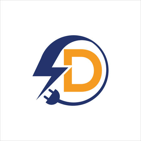 Electrical sign with the letter D,  Electricity Logo, electric logo and icon Vector design Template.Lightning Icon in Vector. Lightning Logo, Power Energy Logo Design Element, Ilustracja