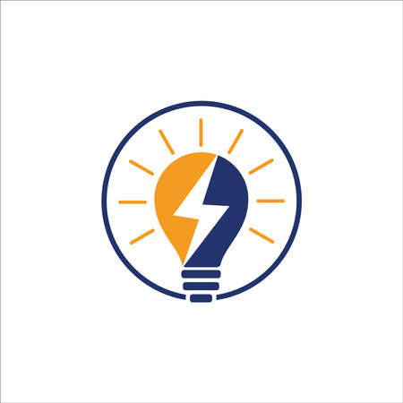 Electricity Logo, electric bulb logo and icon Vector design Template. Bulb creative concept logo design template, Lightning Icon in Vector. Lightning Logo, Power Energy Logo Design Element, Bulb logo light vector design