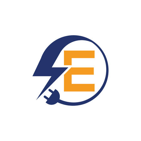 Electrical sign with the letter E,  Electricity Logo, electric logo and icon Vector design Template.Lightning Icon in Vector. Lightning Logo, Power Energy Logo Design Element, 向量圖像