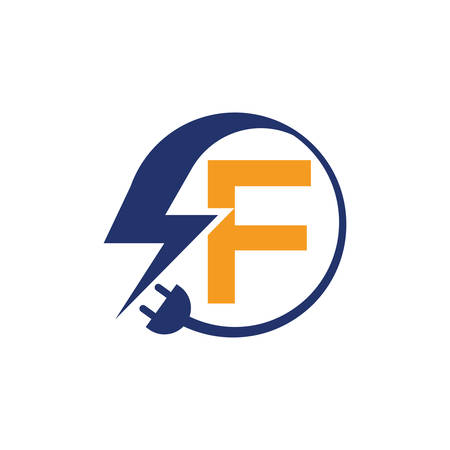 Electrical sign with the letter F,  Electricity Logo, electric logo and icon Vector design Template.Lightning Icon in Vector. Lightning Logo, Power Energy Logo Design Element,