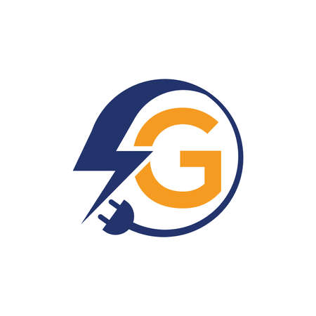 Electrical sign with the letter G,  Electricity Logo, electric logo and icon Vector design Template.Lightning Icon in Vector. Lightning Logo, Power Energy Logo Design Element, Illusztráció