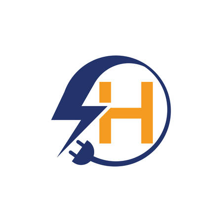 Electrical sign with the letter H,  Electricity Logo, electric logo and icon Vector design Template.Lightning Icon in Vector. Lightning Logo, Power Energy Logo Design Element, Ilustracja