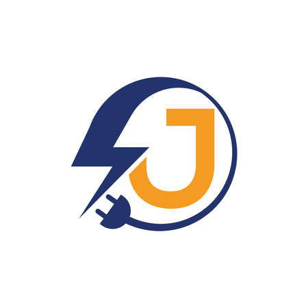 Electrical sign with the letter J,  Electricity Logo, electric logo and icon Vector design Template.Lightning Icon in Vector. Lightning Logo, Power Energy Logo Design Element,
