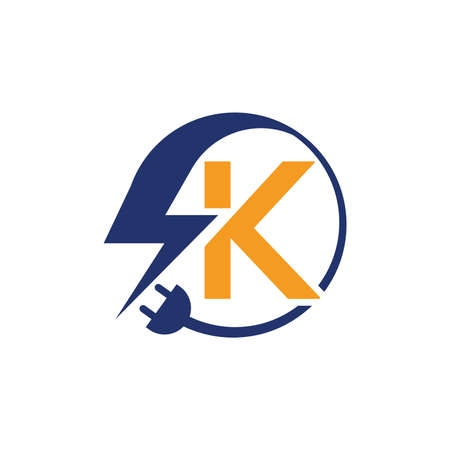 Electrical sign with the letter K,  Electricity Logo, electric logo and icon Vector design Template.Lightning Icon in Vector. Lightning Logo, Power Energy Logo Design Element,