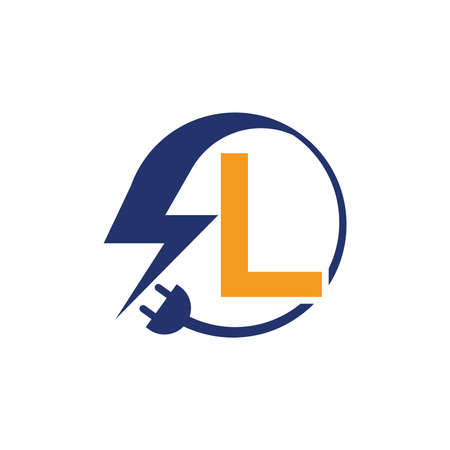Electrical sign with the letter L,  Electricity Logo, electric logo and icon Vector design Template.Lightning Icon in Vector. Lightning Logo, Power Energy Logo Design Element,