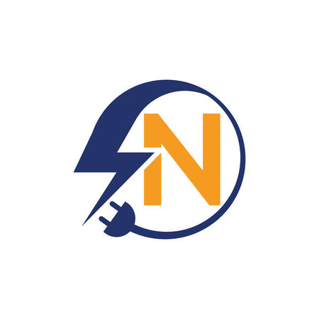 Electrical sign with the letter N,  Electricity Logo, electric logo and icon Vector design Template.Lightning Icon in Vector. Lightning Logo, Power Energy Logo Design Element,