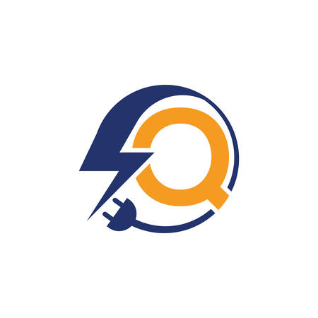Electrical sign with the letter Q,  Electricity Logo, electric logo and icon Vector design Template.Lightning Icon in Vector. Lightning Logo, Power Energy Logo Design Element, Ilustracja