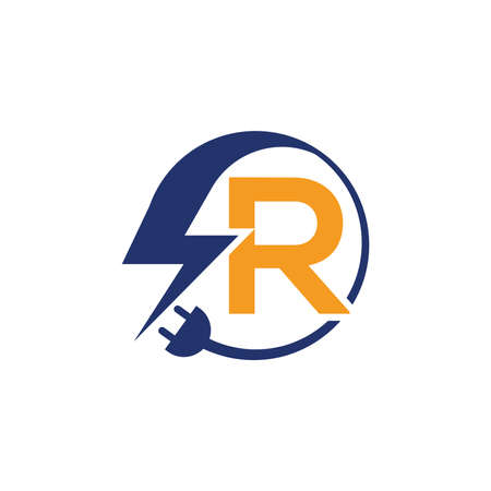 Electrical sign with the letter R,  Electricity Logo, electric logo and icon Vector design Template.Lightning Icon in Vector. Lightning Logo, Power Energy Logo Design Element, Ilustracja